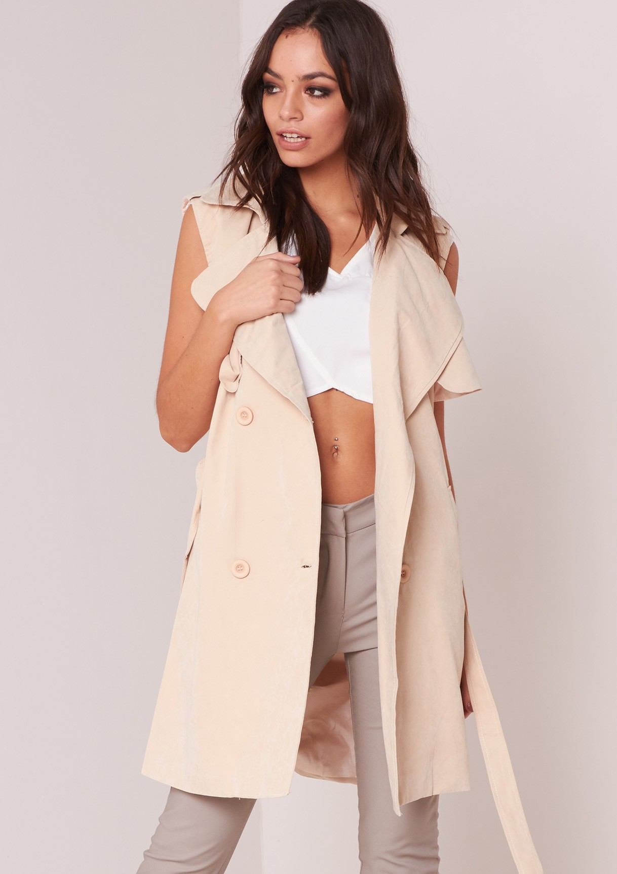 Affordable Trench Coat   Denim Duster   Sleeveless Trench Coat