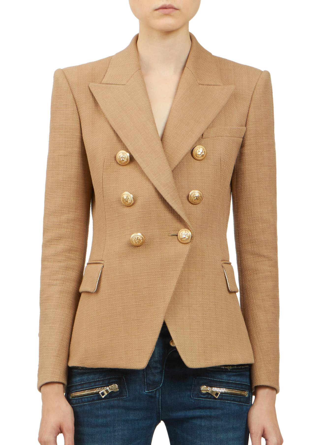 Balmain Double Breasted Blazer | Balmain Leather Jacket | Womens Double Breasted Blazer