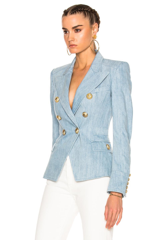 Balmain Double Breasted Blazer | Balmain Leather Skirt | Balmain Jackets