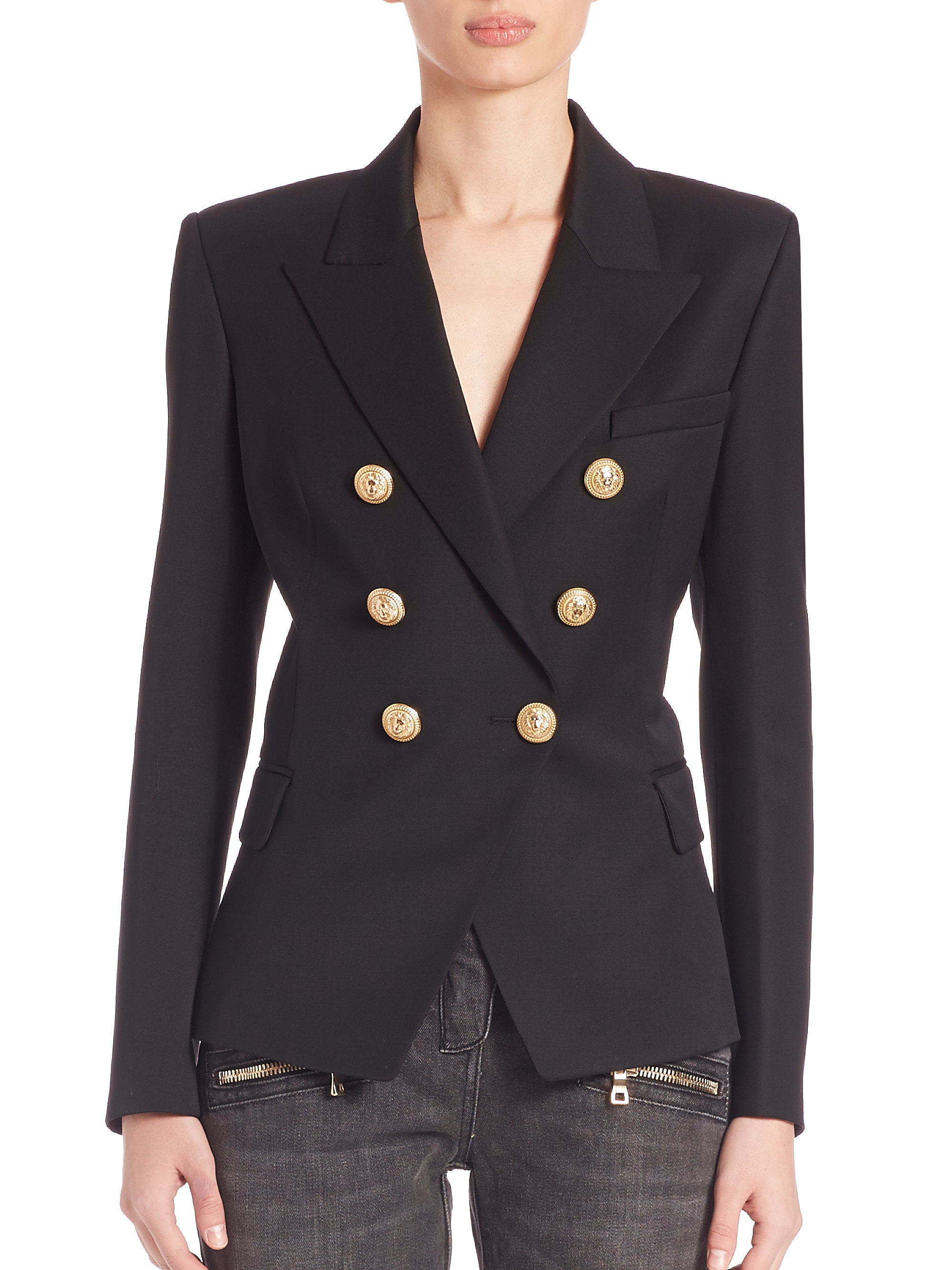 Balmain Double Breasted Blazer | Double Breasted Leather Jacket | Balmain Gown