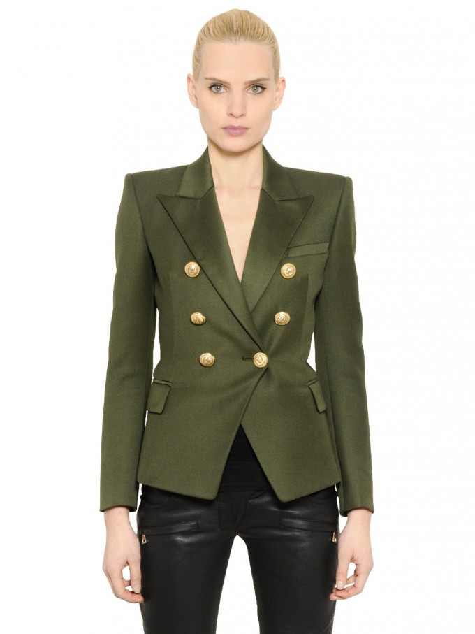 Balmain Double Breasted Blazer | Red Blazer Gold Buttons | Balmain Fur
