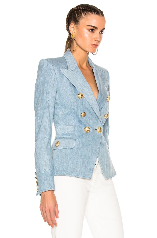 Balmain Double Breasted Blazer | White Blazer Gold Buttons | Balmain Paris Shoes