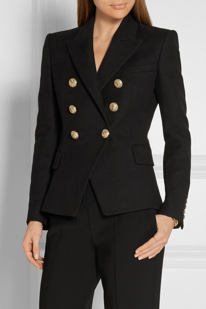 Balmain Jacket Womens | White Blazer Gold Buttons | Balmain Double Breasted Blazer