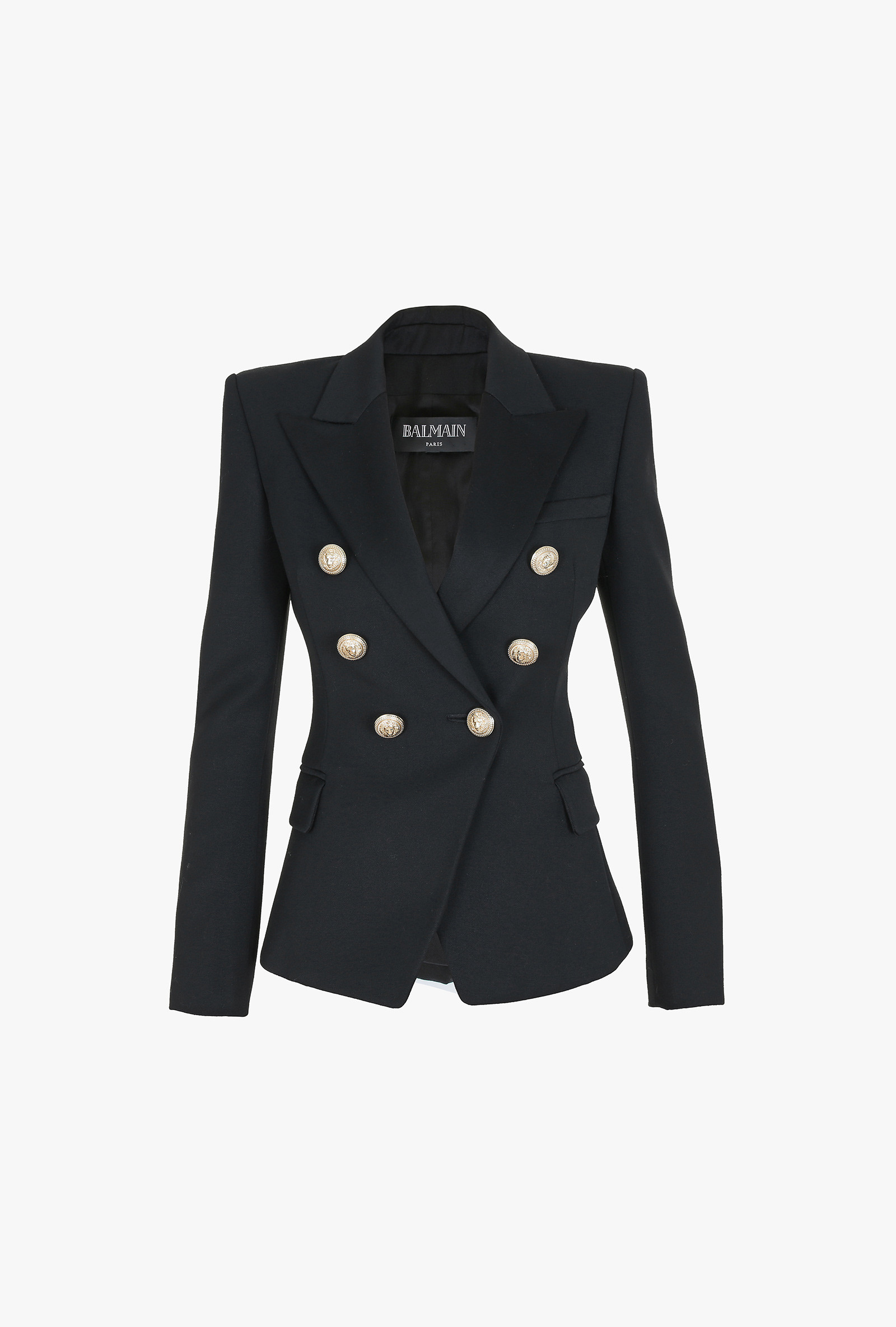 Balmain Leather Skirt | Double Breasted Wool Blazer | Balmain Double Breasted Blazer
