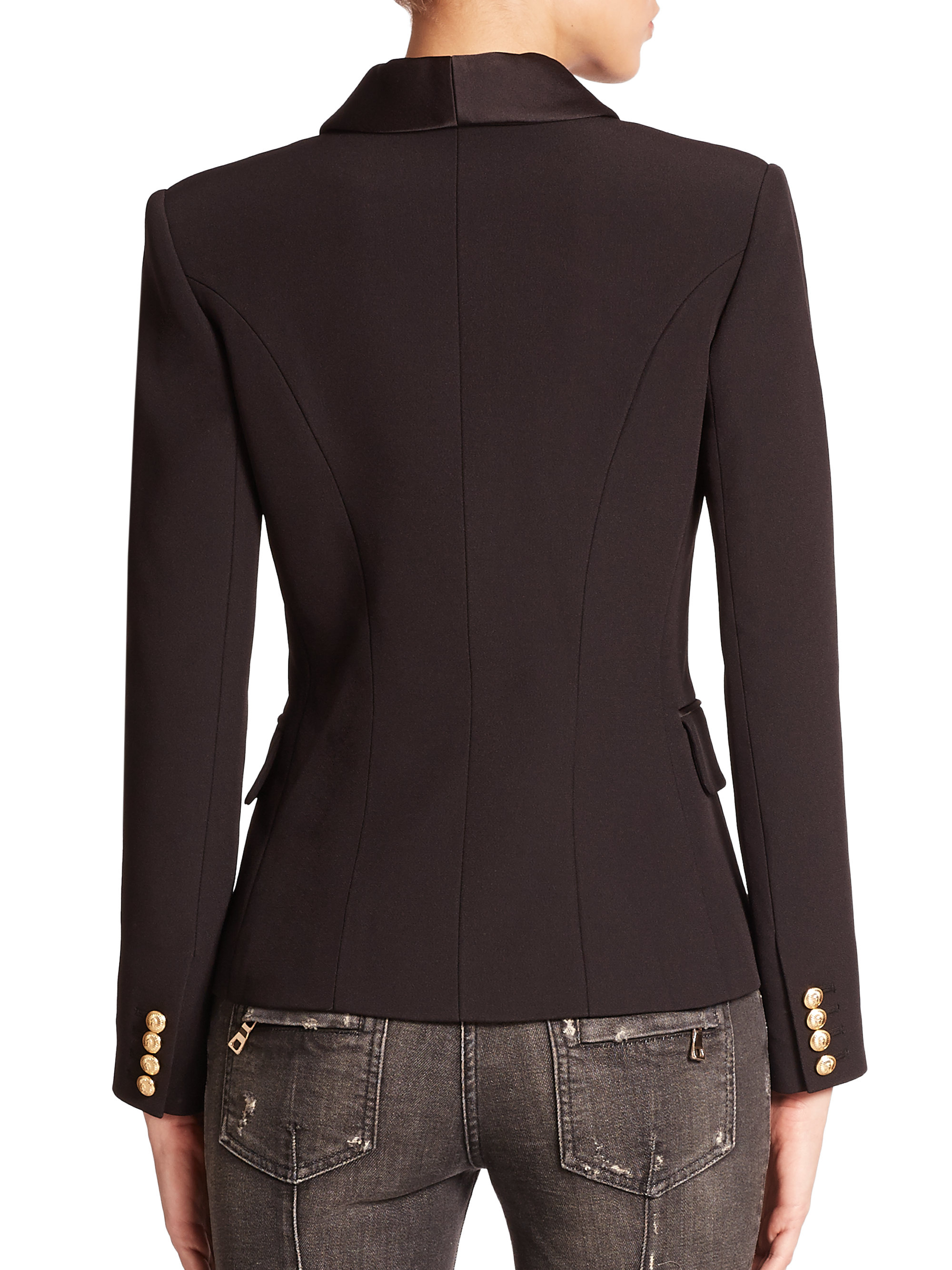 Balmain Short Dress | Balmain Double Breasted Blazer | Leather Double Breasted Jacket