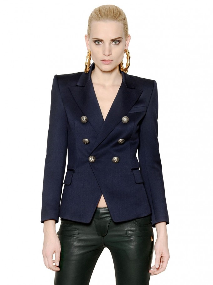 Balmain Tank Top | Balmain Double Breasted Blazer | Balmain Winter Jacket