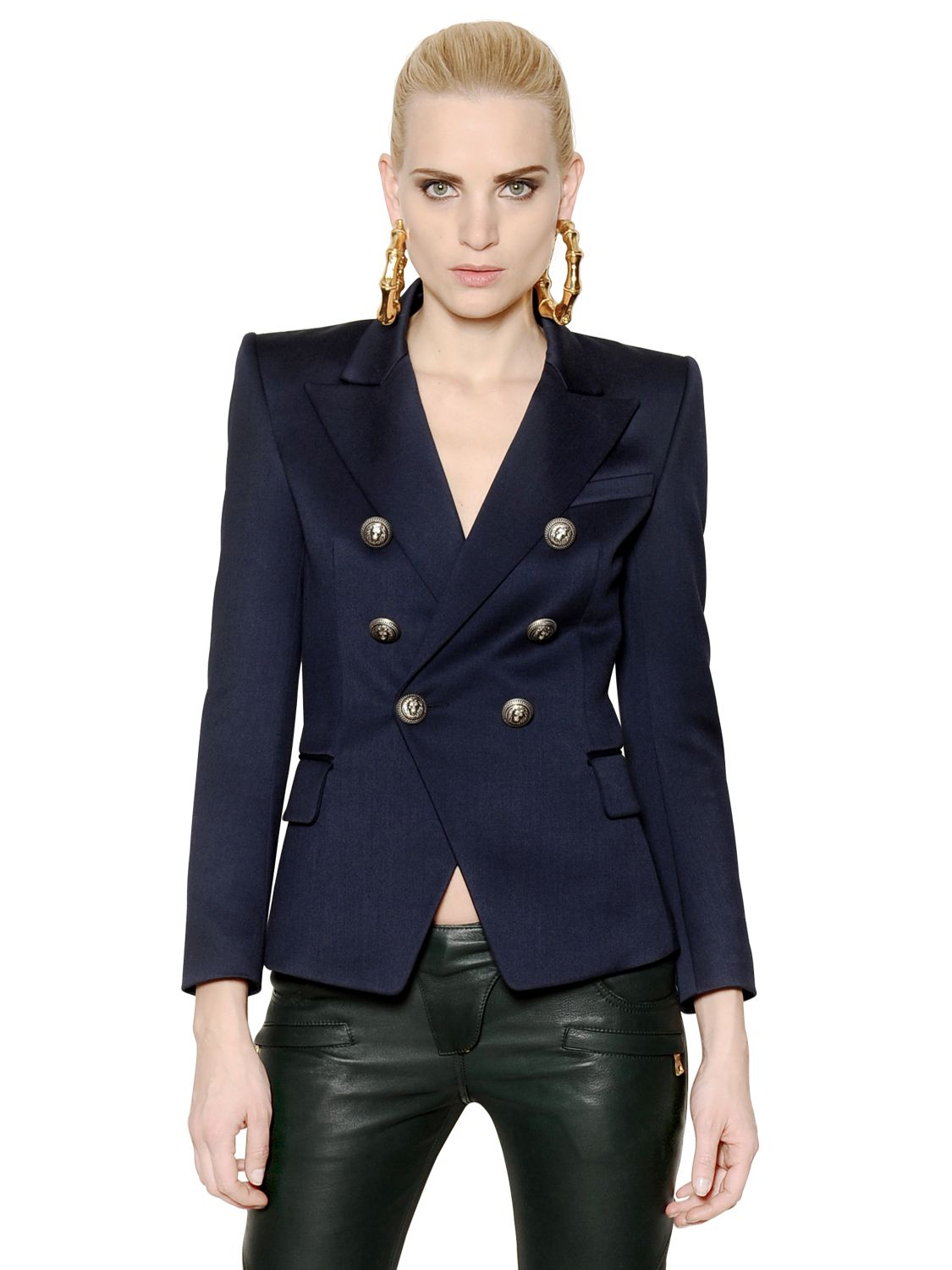 Balmain Tank Top | Balmain Double Breasted Blazer | Balmain Winter Jacket