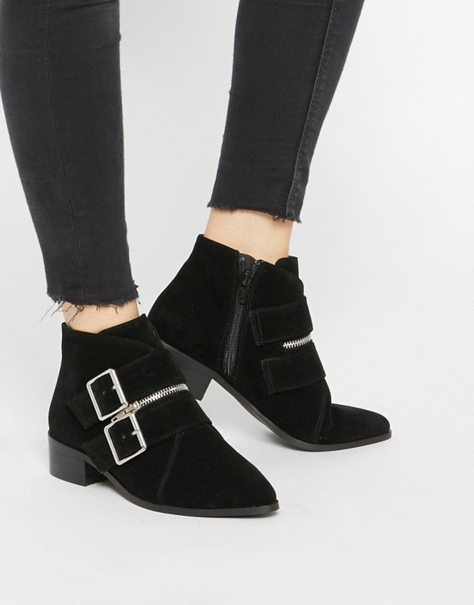 Black Ankle Boots With Buckles | Flat Black Ankle Boots | Wedge Ankle Boots