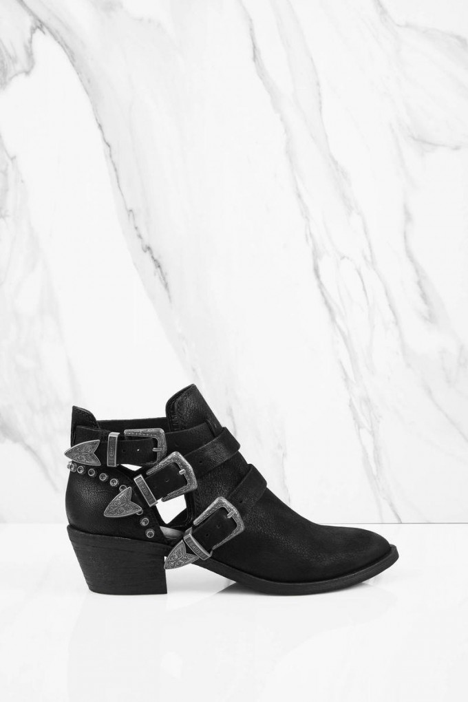 Black Ankle Boots With Buckles | Transparent Heel Boots | Cute Ankle Boots