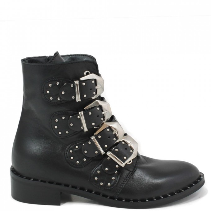 Black Ankle Boots With Buckles | Wedge Heel Ankle Boots | Gold Ankle Boots