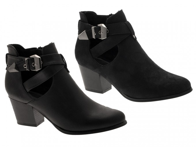 Booties With Clear Heel | Womens Heeled Ankle Boots | Black Ankle Boots With Buckles