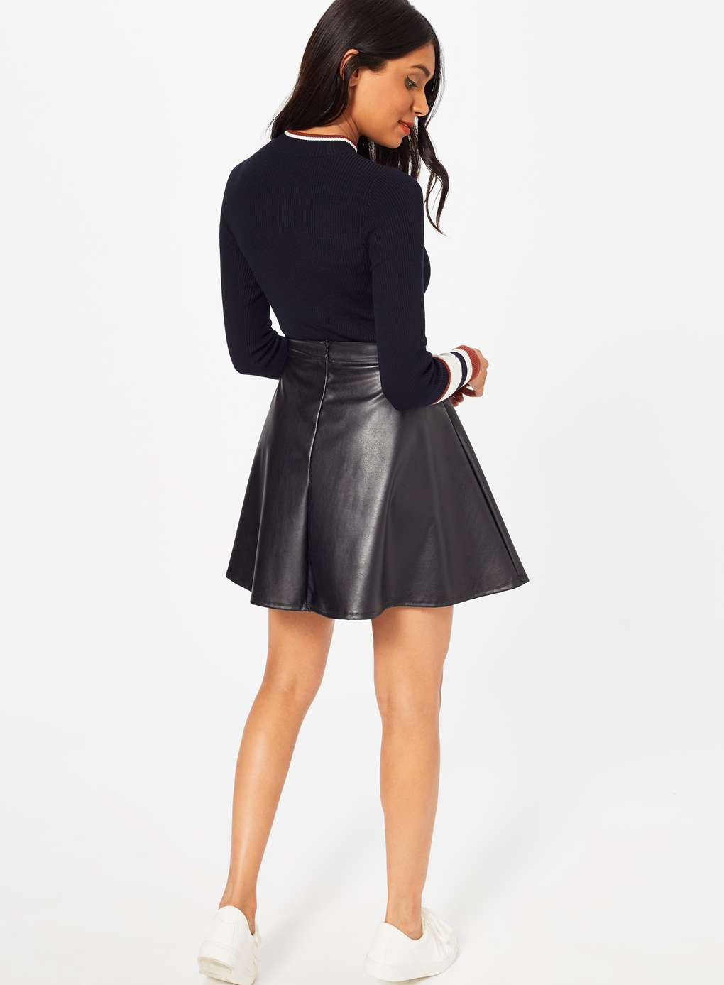 Burgundy Leather Pencil Skirt | Faux Leather Skirt | Silver Leather Pencil Skirt