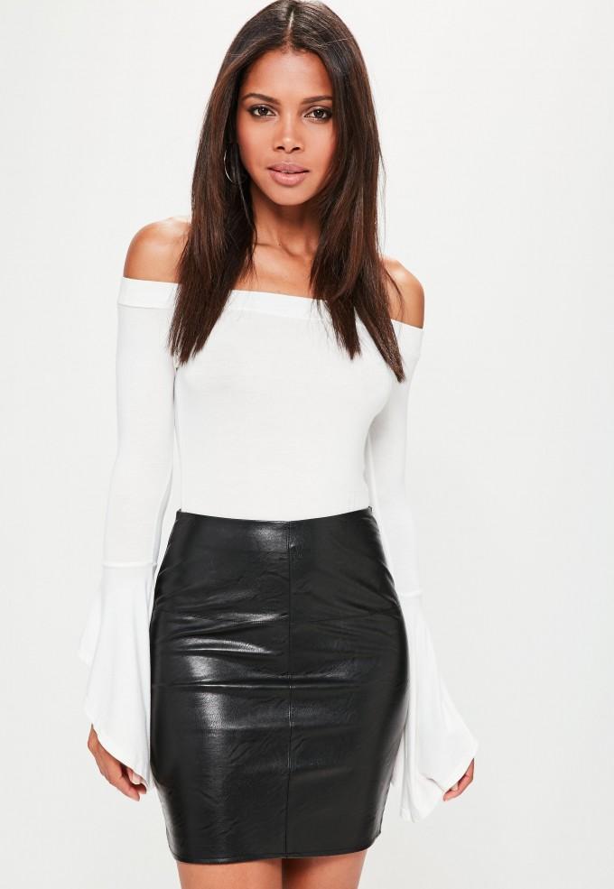 Camel Leather Skirt | Faux Leather Skirt | Asymmetrical Leather Skirt