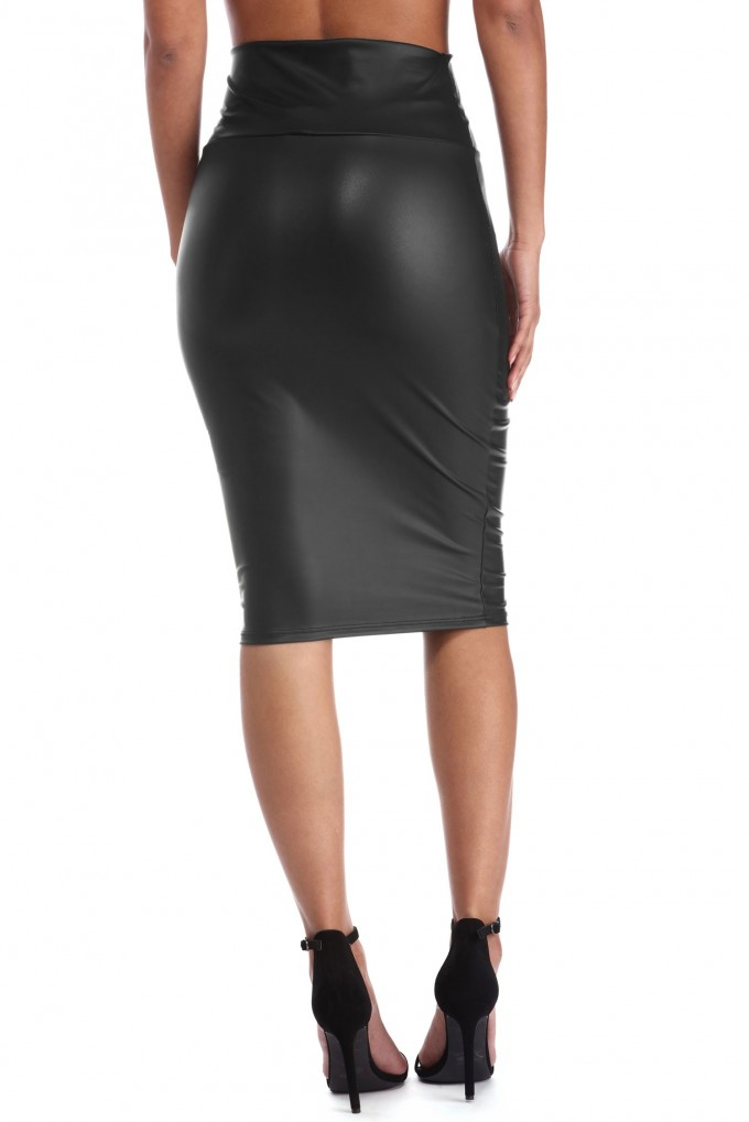 Camel Leather Skirt | Faux Leather Skirt | Plus Size Faux Leather Pleated Skirt