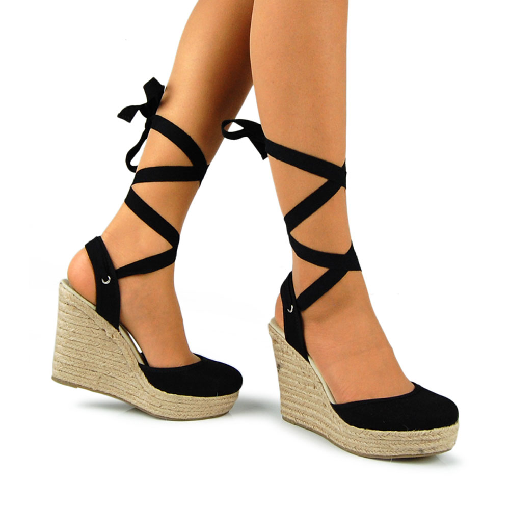 Closed Toe Wedges with Ankle Strap | Tan and Gold Wedges | Espadrilles Tie Up