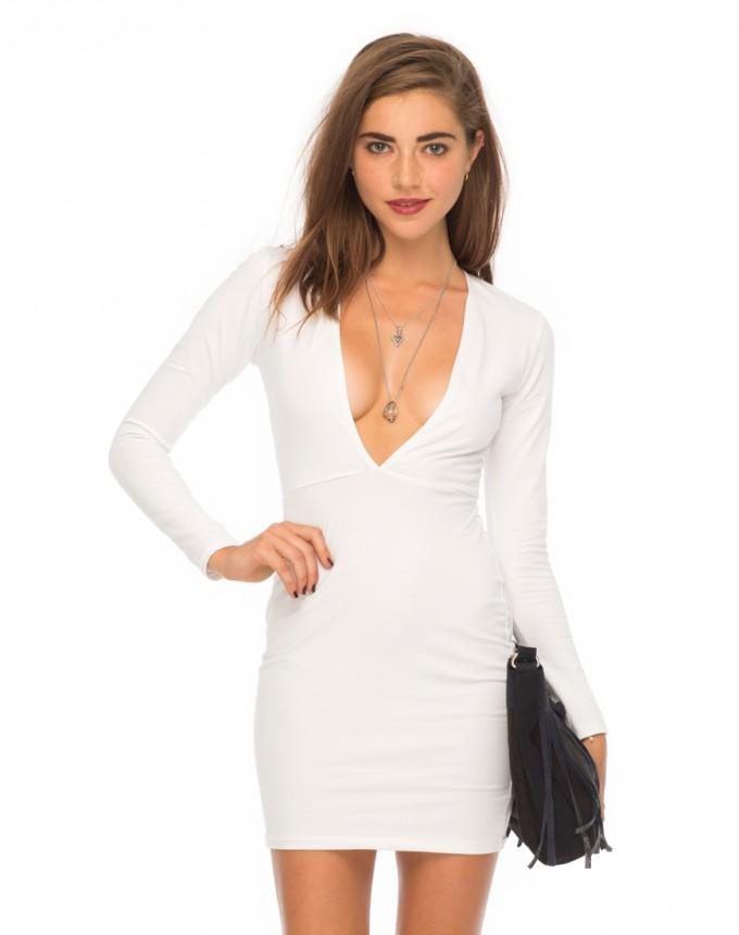 Deep Plunge Neckline Dress | Deep Plunge Midi Dress | Plunging Neckline Dress