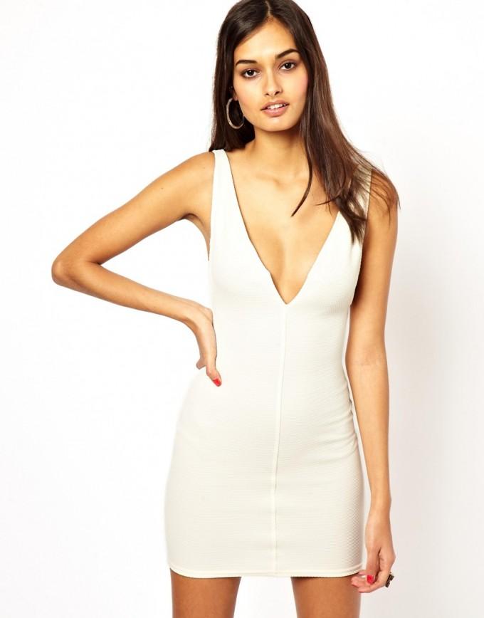 Deep V Neck Cocktail Dress | Plunging Neckline Skater Dress | Plunging Neckline Dress