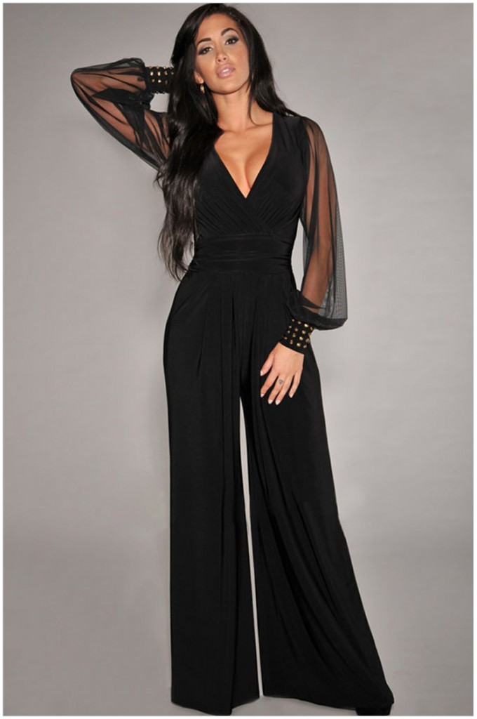 Deep V Romper | Sexy Womens Pant Suit | Dressy Rompers And Jumpsuits