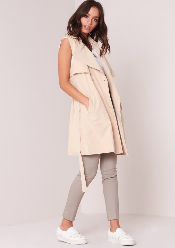 Double Breasted Overcoat Womens | Duster Style Raincoat | Sleeveless Trench Coat