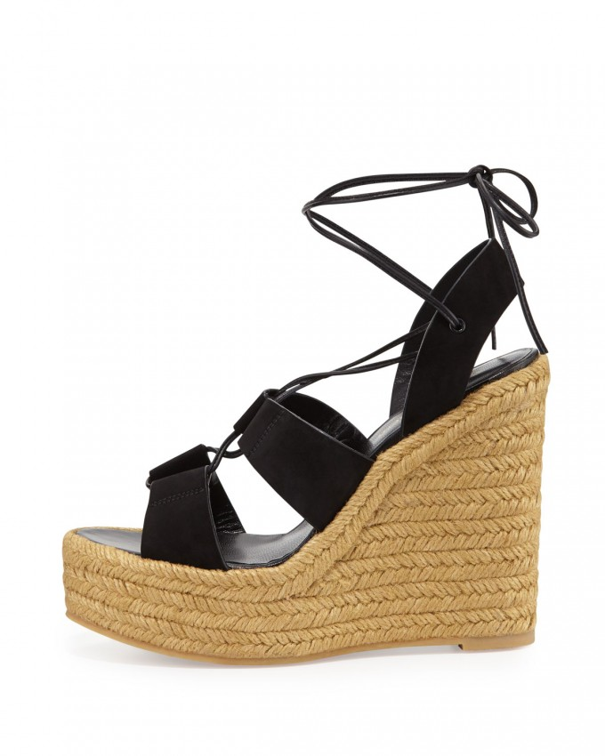 Espadrille Mules | Espadrilles Tie Up | Tan And Gold Wedges