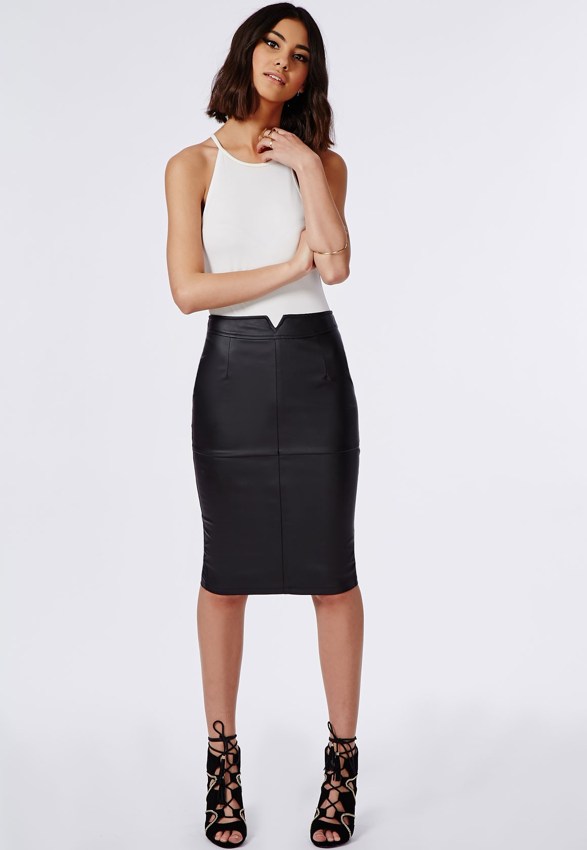 Faux Leather Maxi Skirt | Faux Leather Skirt | Midi Skirt Pleated