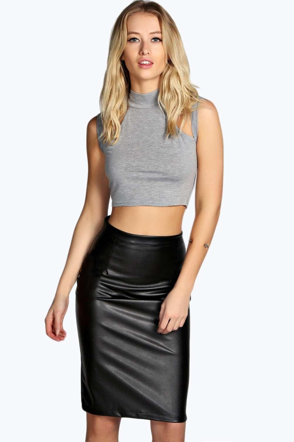Faux Leather Skirt | Faux Leather High Waisted Skirt | Maroon Faux Leather Skirt