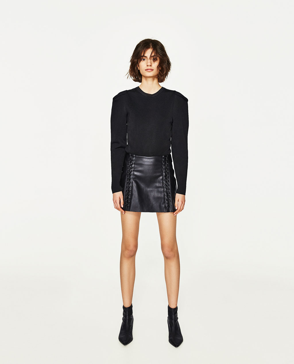 Faux Leather Skirt | Fringe Leather Skirt | Asymetrical Leather Skirt