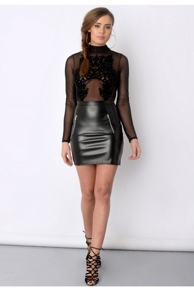 Faux Leather Skirt | Pleated Leather Skirt | Snakeskin Skirt