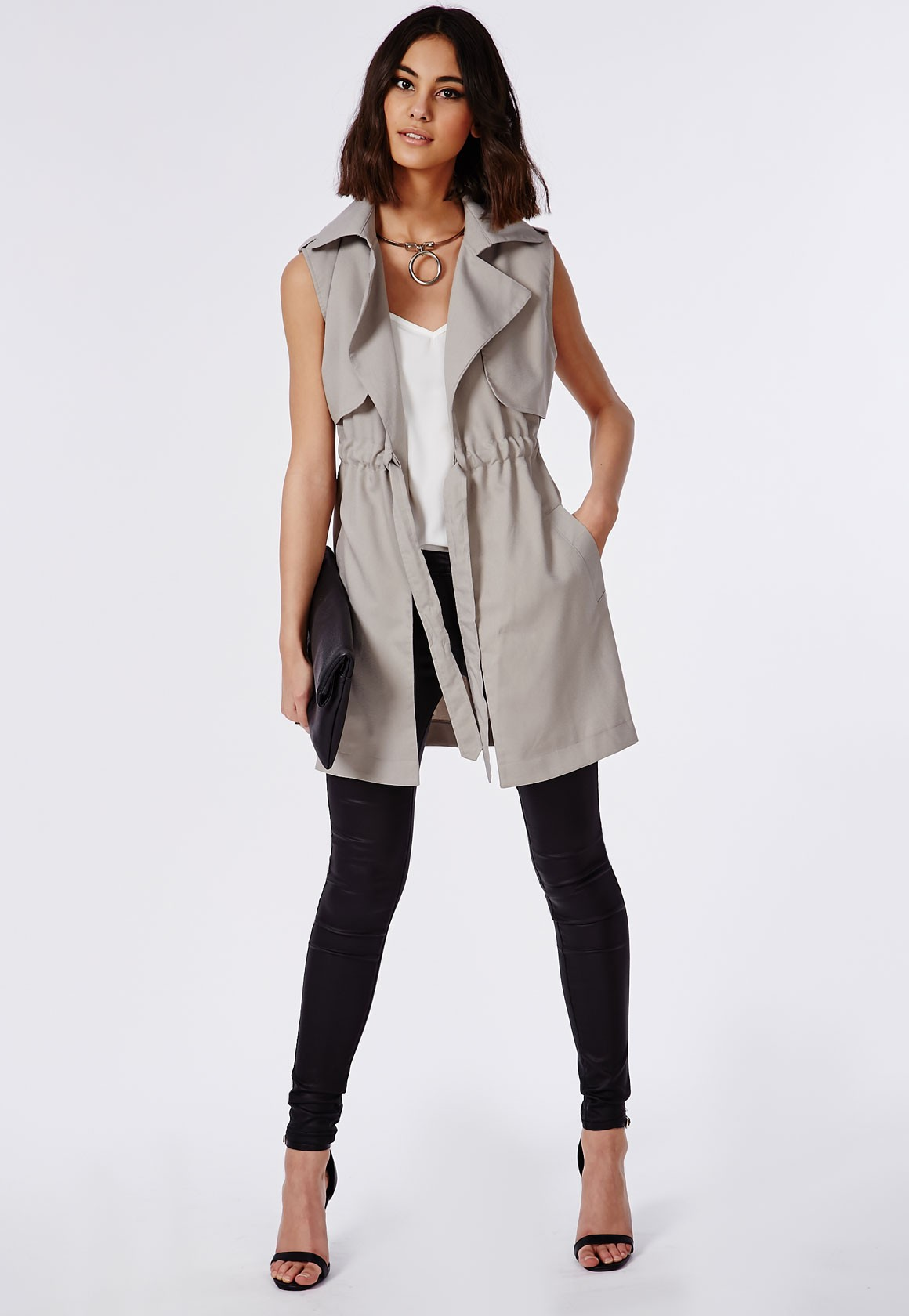 Flowing Trench Coat | Sleeveless Trench Vest | Sleeveless Trench Coat