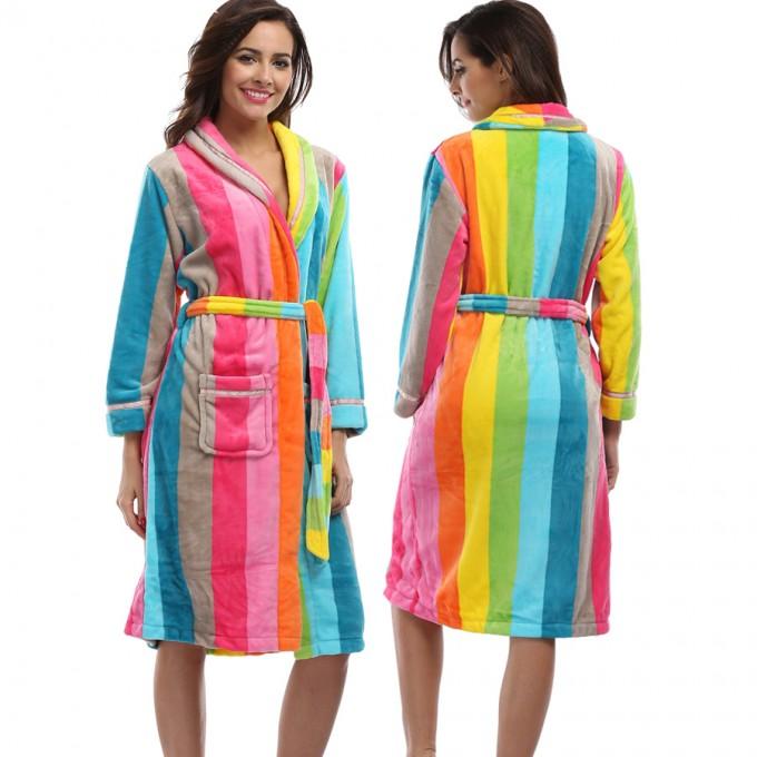 Fluffy Robe   Plush Bathrobes   Womens Fleece Bathrobe