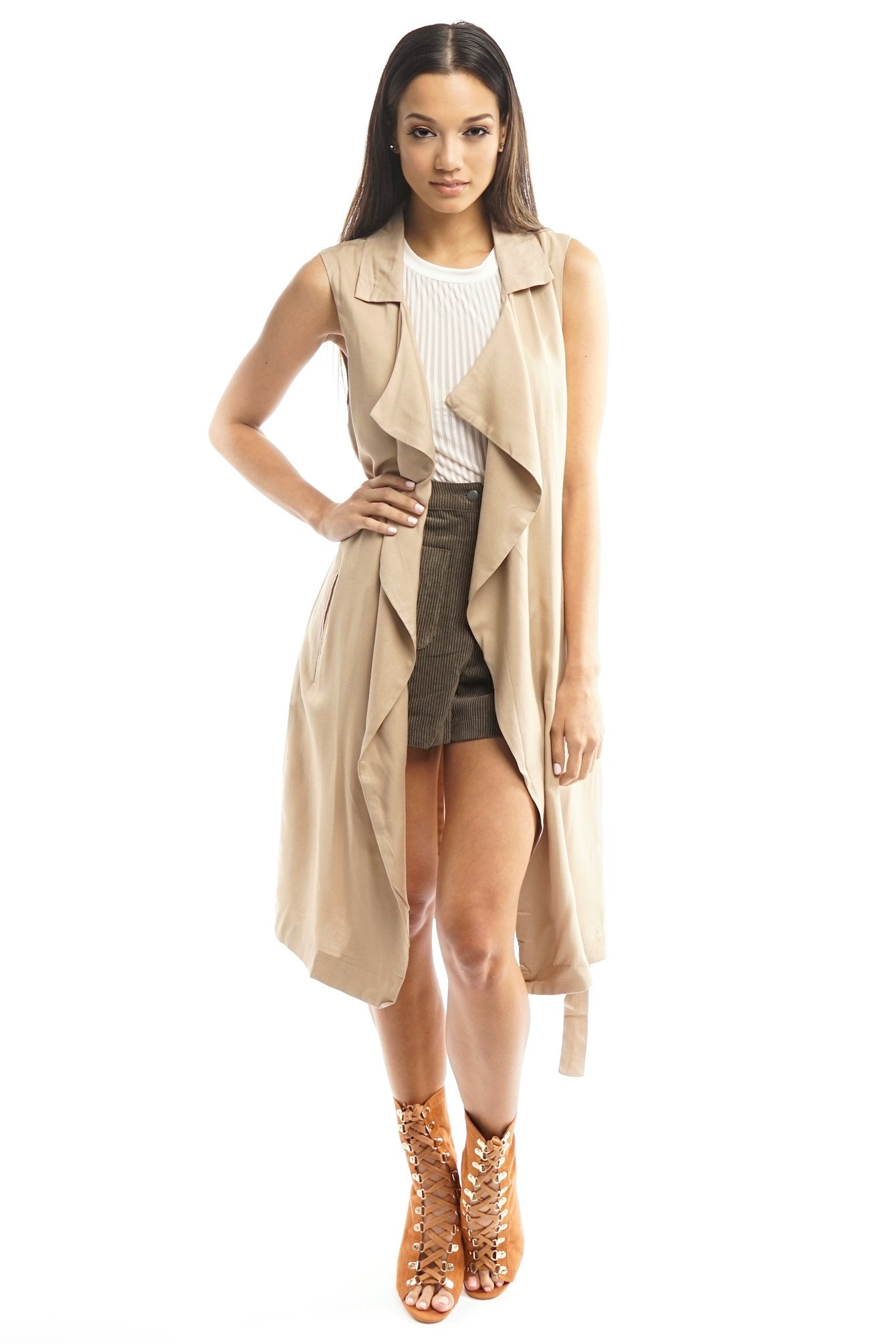 Forever 21 Trench Coat   Pink Waterfall Jacket   Sleeveless Trench Coat
