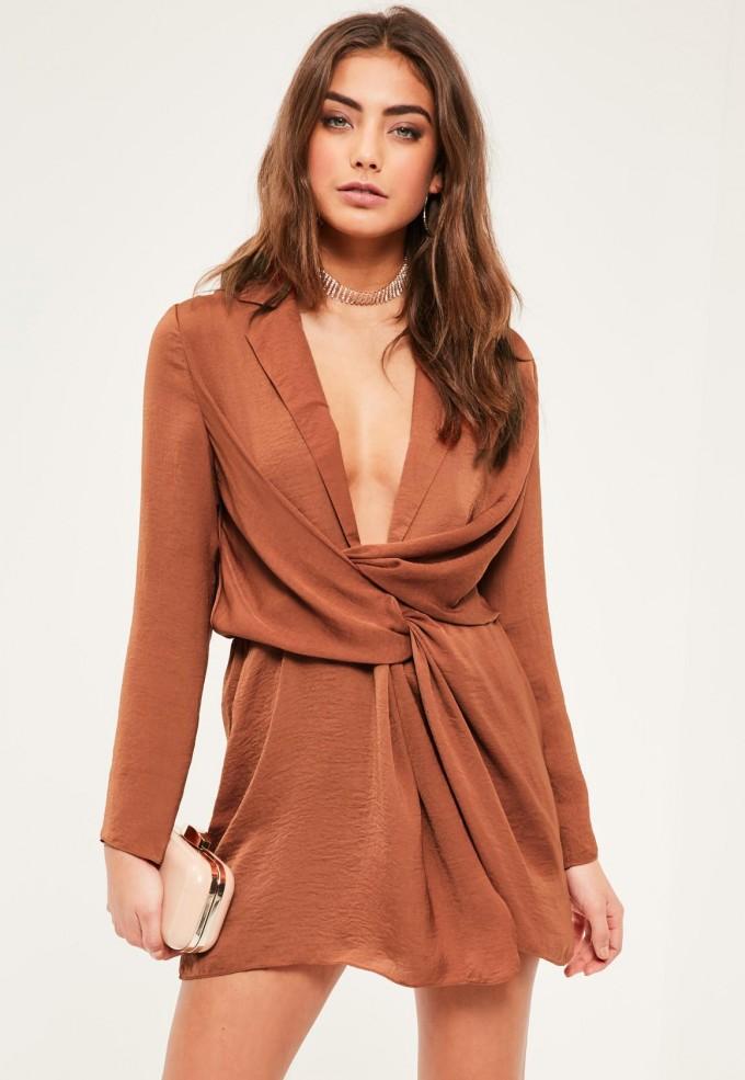 Gold Plunge Dress | Plunging Neckline Dress | Plunging Neckline Dress Bra