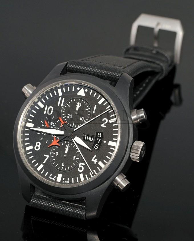 Iwc Pilot Black Dial Chronograph Automatic Mens Watch | Iwc Pilot Miramar | Iwc Top Gun