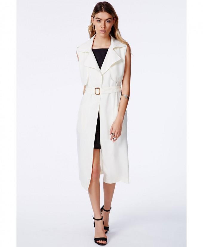Khaki Trench Coat For Women | Sleeveless Trench Coat | Beige Womens Trench Coat