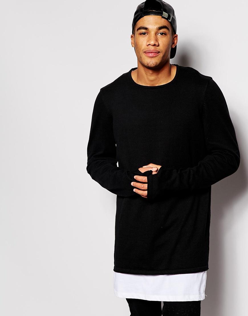 Kids Sweatshirt with Thumb Holes | Black Long Sleeve Shirt with Thumb Holes | Thumbhole Sweater