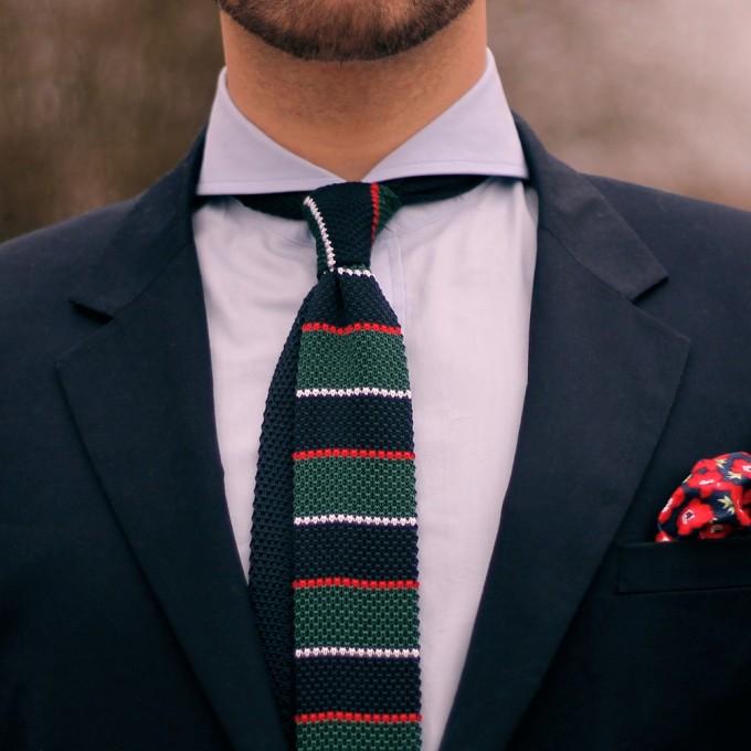Knit Ties | Woven Necktie | Green Knitted Tie