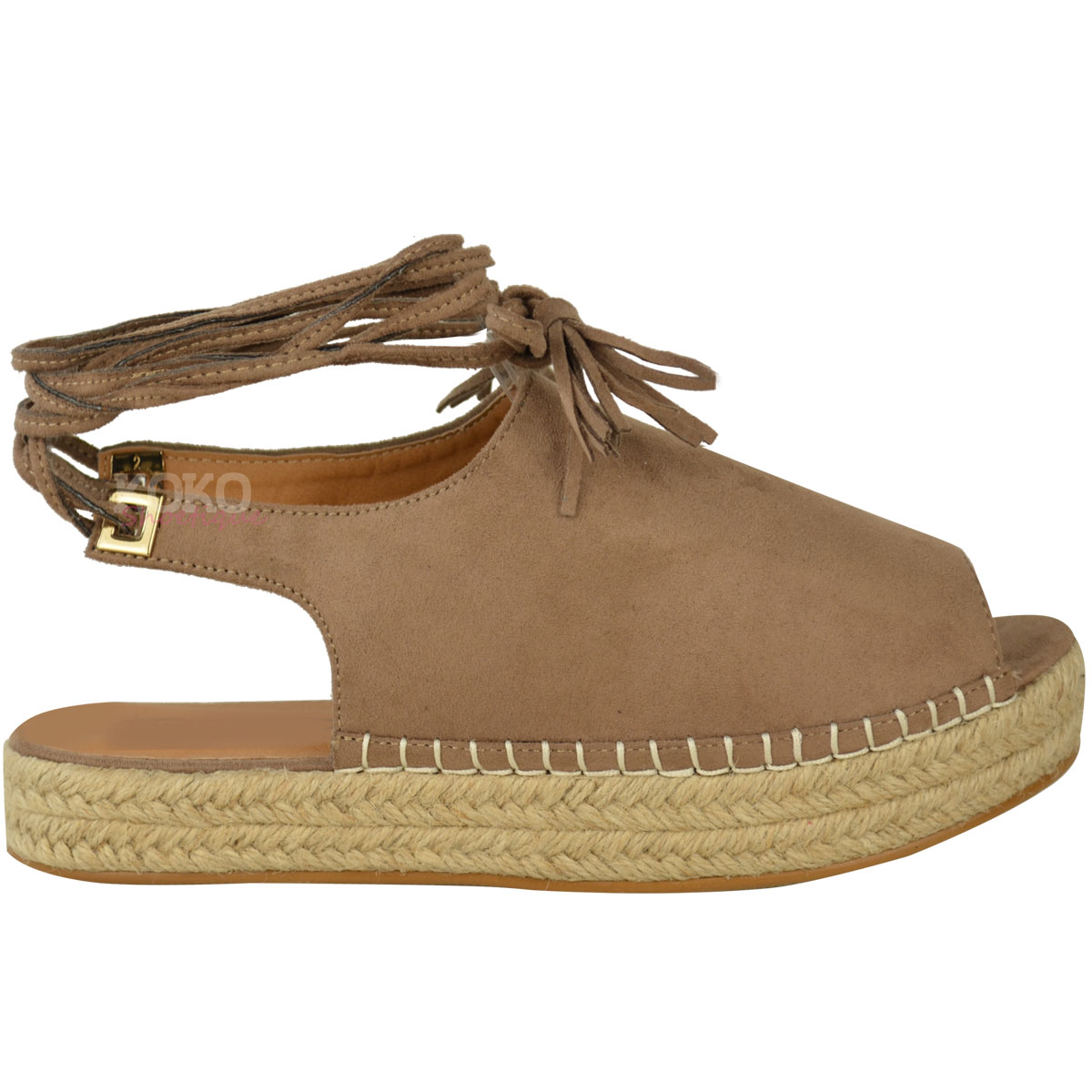 Ladies Canvas Wedge Shoes | Espadrilles Tie Up | Saludos Espadrilles