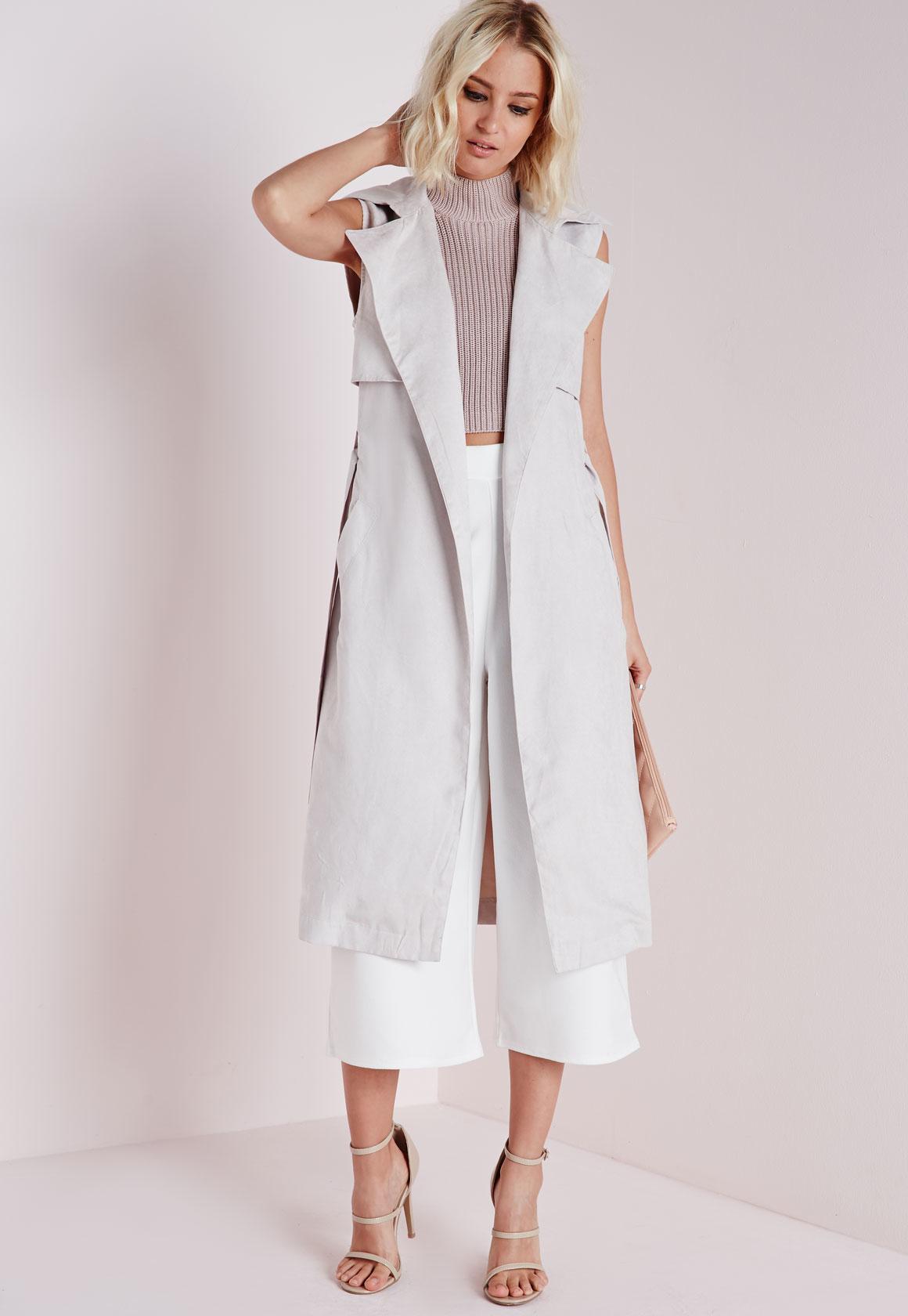 Long Grey Trench Coat | Light Pink Trench Coat | Sleeveless Trench Coat