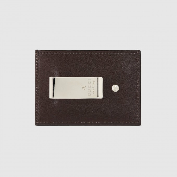 Mens Credit Card Holder With Money Clip | Mens Designer Leather Wallets | Gucci Money Clip