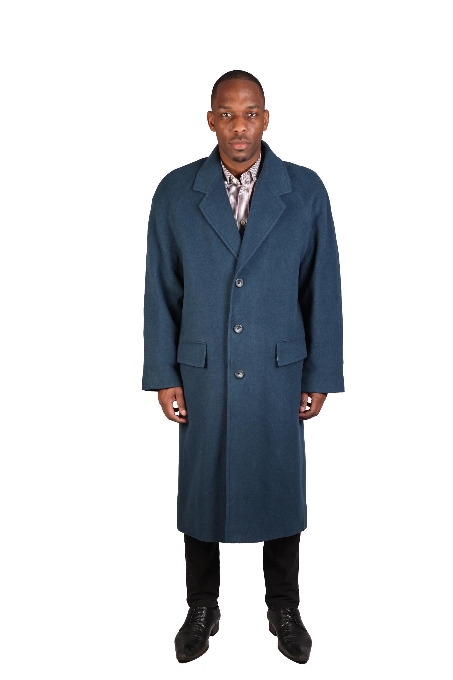 Mens Overcoats | Mens Full Length Trench Coat | Mens Navy Overcoat