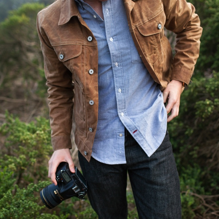 Mens Waxed Canvas Jacket | Waxed Trucker Jacket | Oiled Cotton Jacket