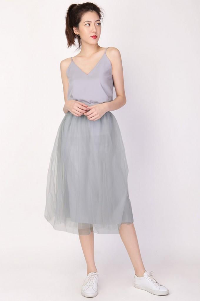 Nude Tulle Dress | Tulle Midi Skirt | Mid Length Tulle Skirt