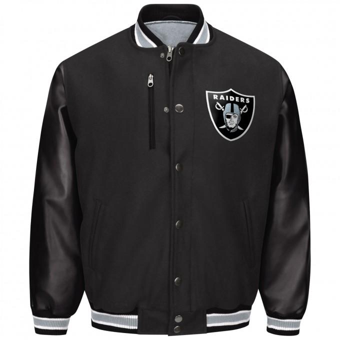 Oakland Raider Merchandise | Leather Raiders Jacket | Raiders Varsity Jacket