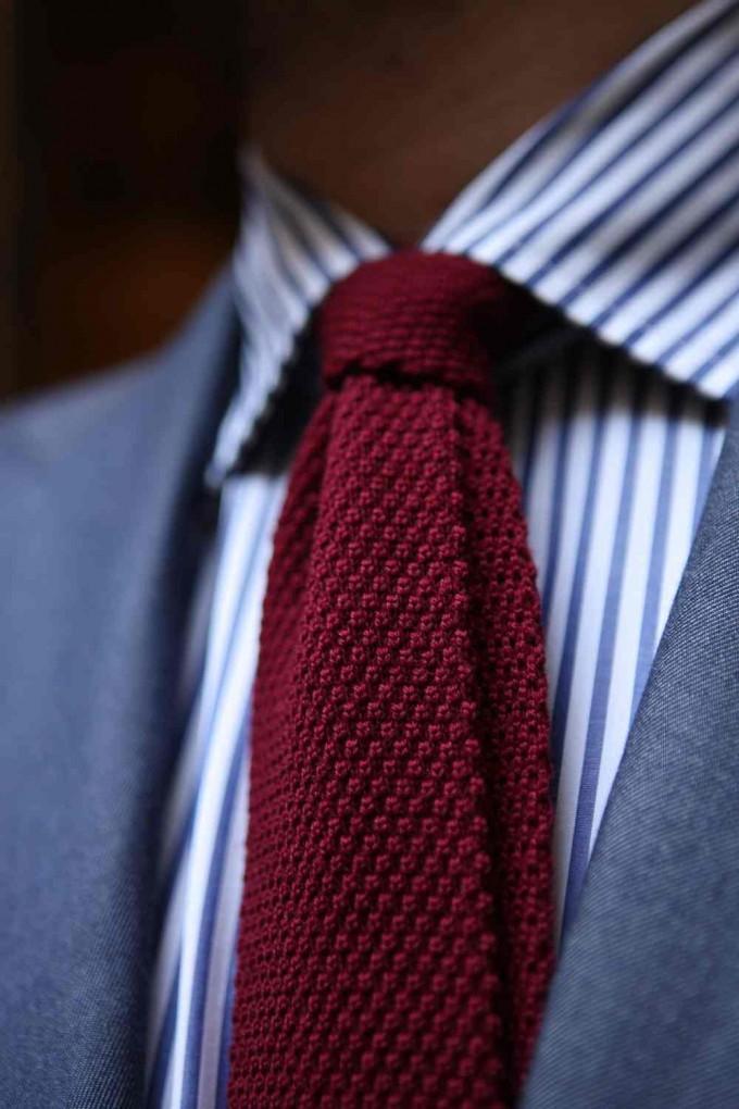 Orange Knitted Tie | Knit Ties | Black Knitted Tie