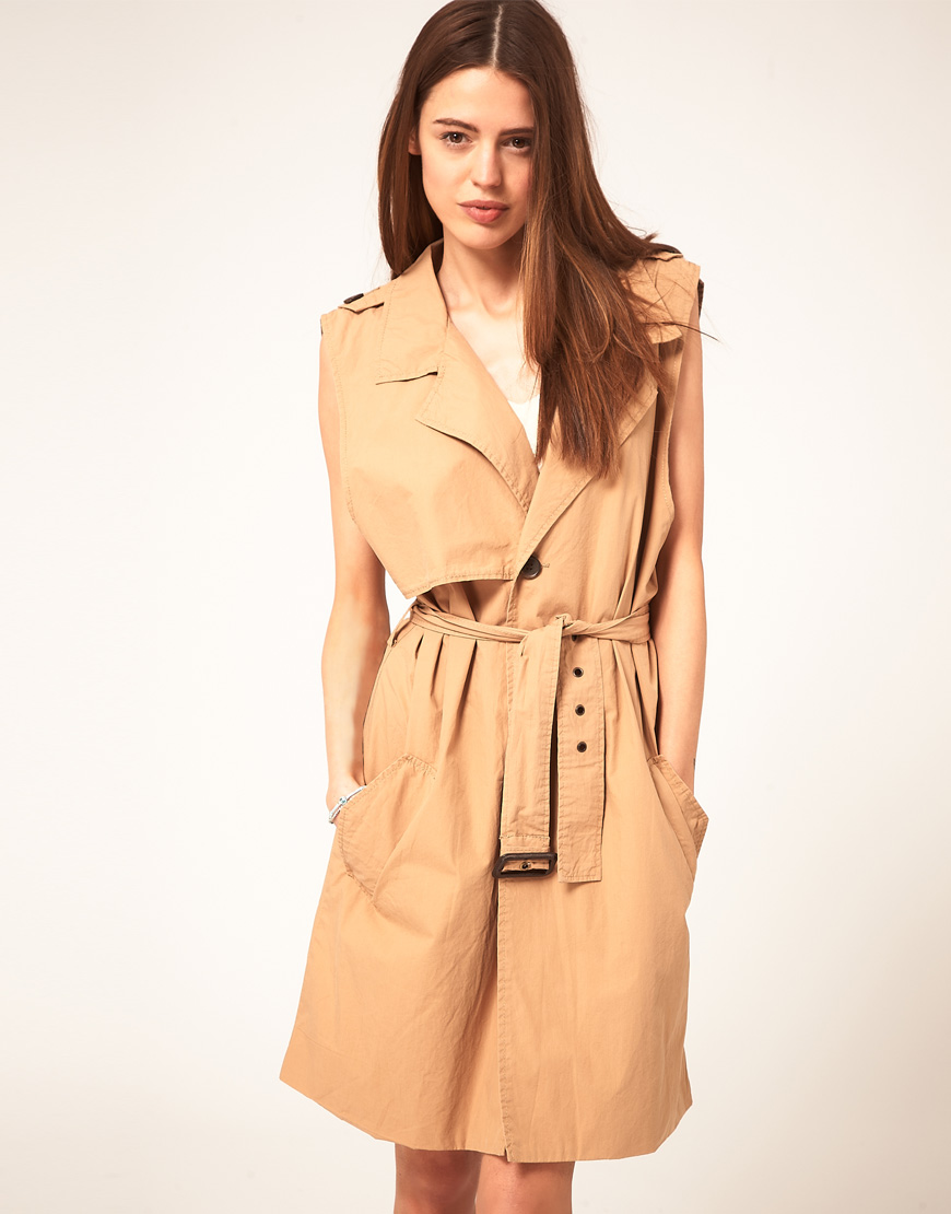 Pink Waterfall Jacket   Sleeveless Trench Coat   Womens Dusters
