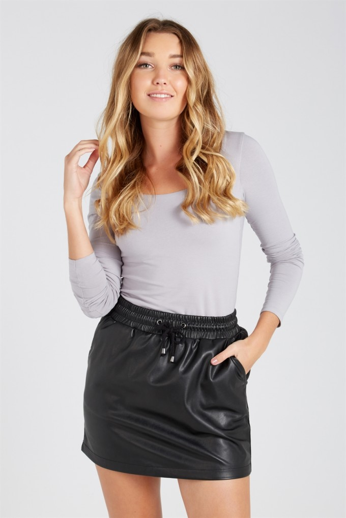 Pleated Pleather Skirt | Faux Leather Skirt | Plus Size Pleather Skirt