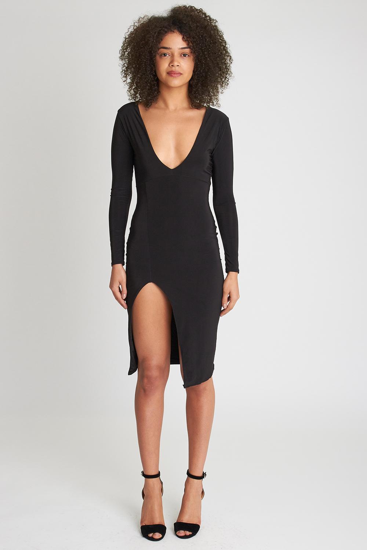Plunging Neckline Dress | Deep V Skater Dress | V Neck Wedding Gowns