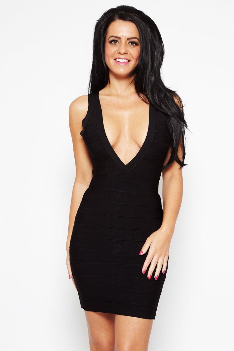 Plunging Neckline Dress | V Neck Halter Dress | Gold Plunge Dress