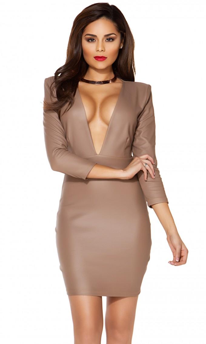 Plunging V Neck Prom Dress | Plunging Neckline Dress | Deep V Bodycon Dress