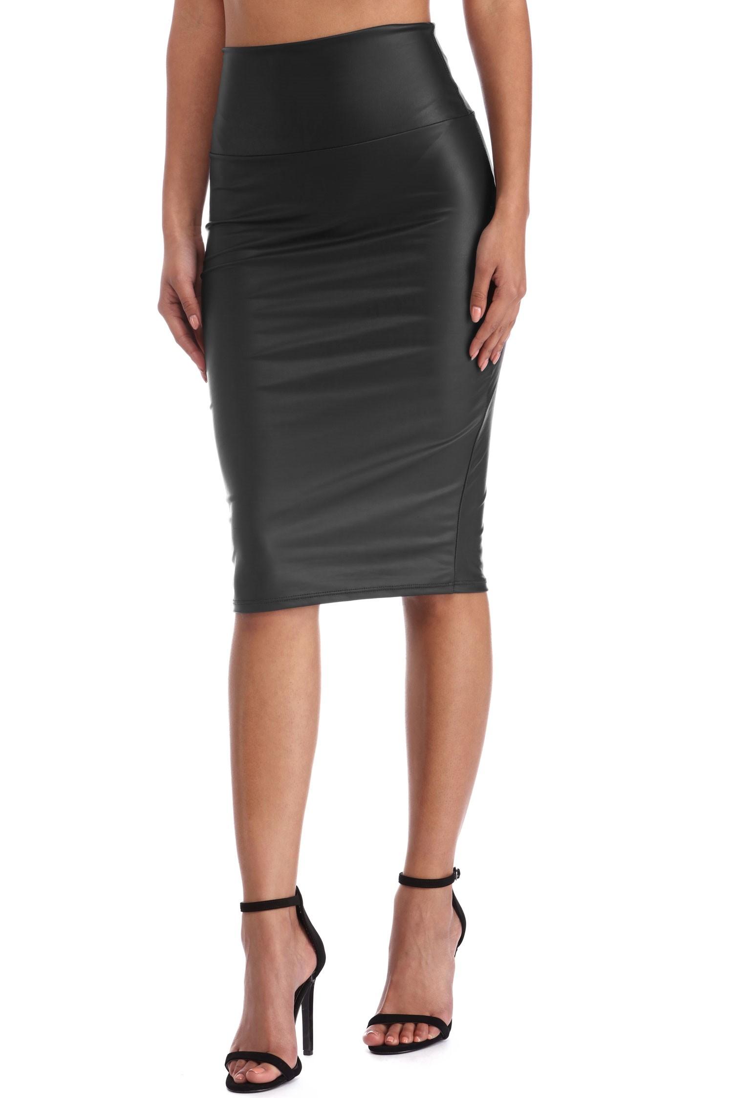 Plus Size Faux Leather Pencil Skirt | Patent Leather Skirt | Faux Leather Skirt